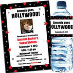 Hollywood theme Sweet 16 party invitations, decorations and favors