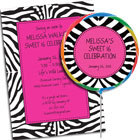 Jungle print theme Sweet 16 invitations, lollipops and favors
