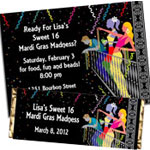 Mardi Gras Sweet 16 invitation and party favors