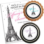Paris theme Sweet 16 invitations and party favors