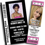 Backstage pass invitations and Sweet 16 ticket invitations