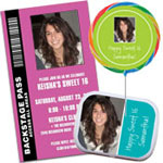Add a photo Sweet 16 invitations and party favors