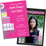 See all personalized Sweet 16 invitations, decorations and party favors