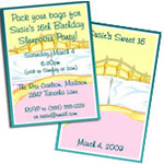 Sweet 16 Sleepover party invitations and favors