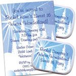 Winter Wonderland Sweet 16 Invitations and Decorations