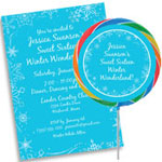 Sweet 16 Snow Theme Invitation and party favors