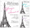 Eiffel Tower Theme Sweet 16 Invitations