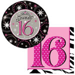 Sweet 16 party supplies and paper products