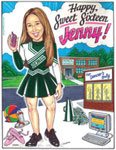 Custom sweet 16 invitation caricature