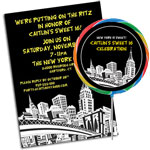 City invitations and party favors