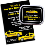 Taxi theme invitations and party favors