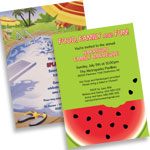 Summer theme invitations and favors
