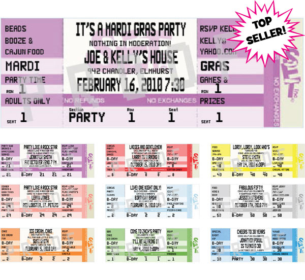 Mardi Gras Authentic Ticket Invitation / Invite everyone to Mardi Gras with a bright ticket invitation
