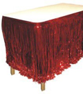Red Metallic Table Skirt