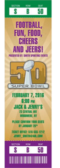 Super Bowl Mardi Gras Ticket Invitations