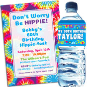 Sixties Hippie theme invitations and party favors