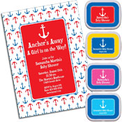 Anchor theme baby shower invitations and favors