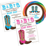 Western baby shower theme invitations and favors