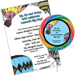 Hot Air Balloon theme graduation invitations and favors