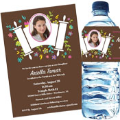 Bat Mitzvah Torah with Flowers Invitation and Favors