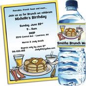 Brunch theme and pancake theme invitations