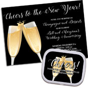 Champagne theme invitations and favors
