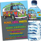 60s hippie bus theme invitations and favors