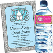Sweet 16 princess theme invitations and favors