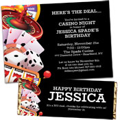 Casino games theme casino party invitations and favors