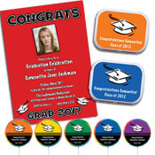 Color choice graduation invitations, decorations and party favors