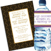 Art Deco theme invitations and favors