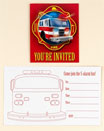 Fire truck, fire fighter invitations