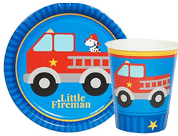 Little Fireman theme paper goods