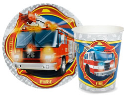Firefighter theme paper goods