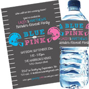 Football theme gender reveal party invitations and favors
