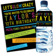 Blacklight and Glow theme party invitations and favors