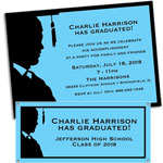 Grad for him theme invitations and favors