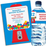 Gumball theme party invitations and favors