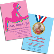 Gymnastics theme invitations and favor