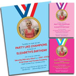 Gymnastics theme invitations and favors