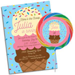 Ice Cream Party Invitations and Favors