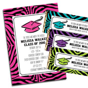 Animal Print Graduation Invitations and Favors