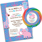 Jungle theme gender reveal party invitations