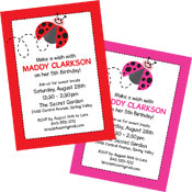 Ladybug party invitations and favors
