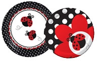 Ladybug theme paper plates and party supplies