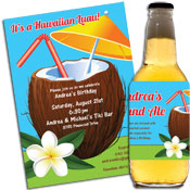 Custom luau theme invitations and favors
