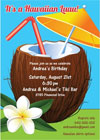 Luau theme party invitations and party favors