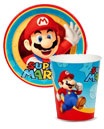 Mario party theme paper plates, cups and napkins