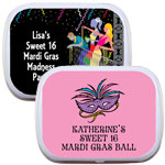 Mardi Gras mint and candy tins, personalized