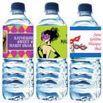 Mardi Gras water bottle labels, personalized